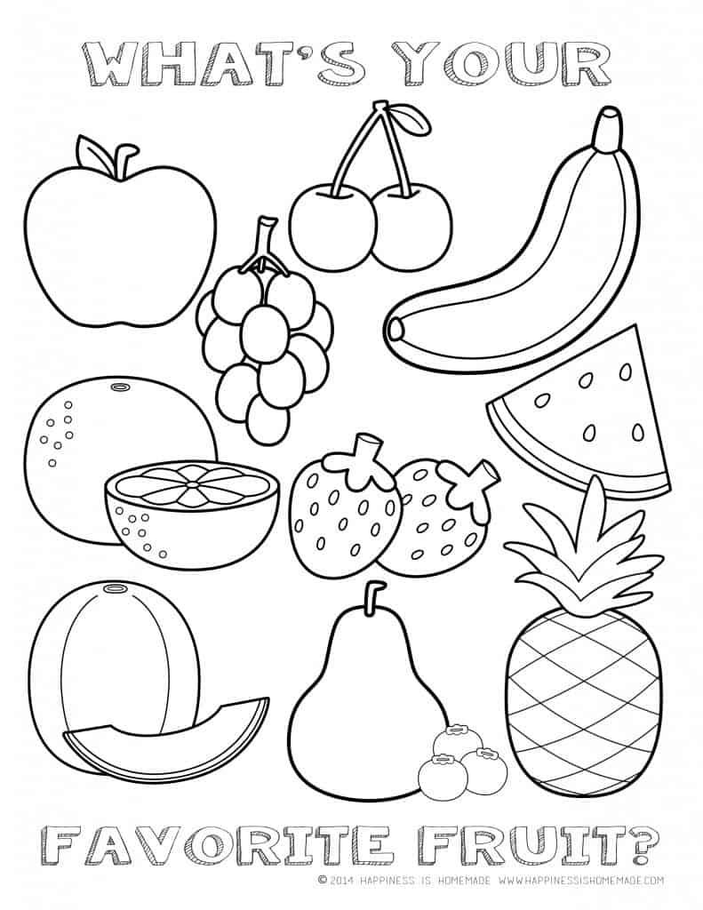 Fruits English Coloring Page