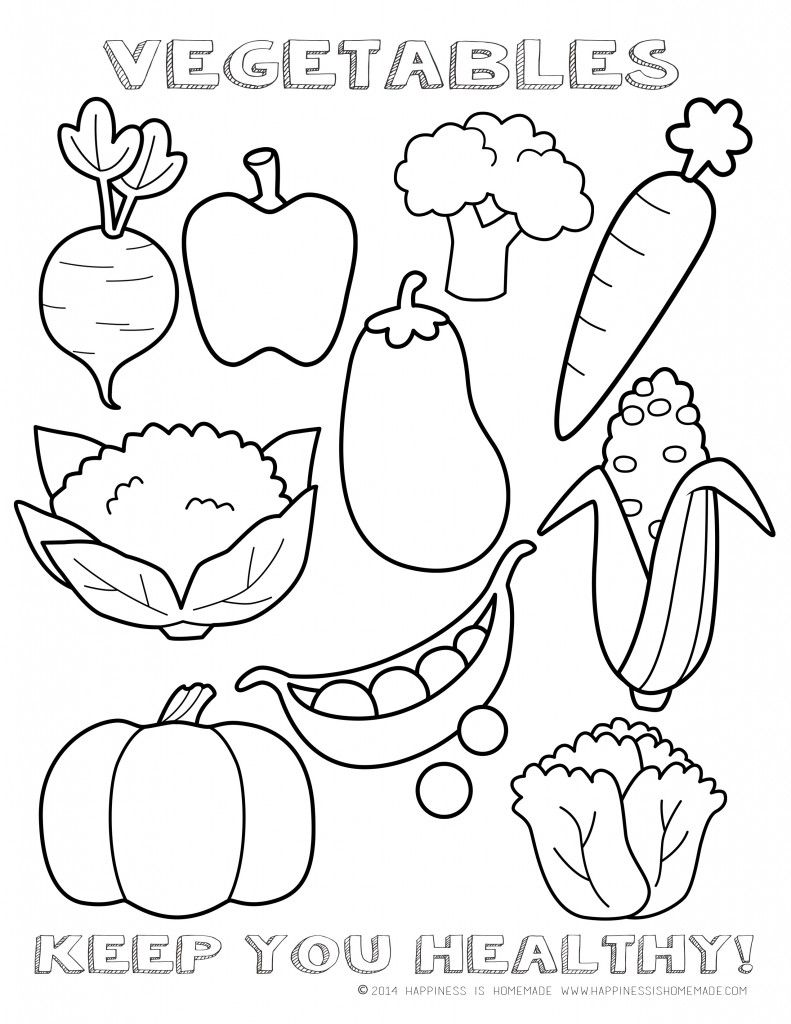 Vegetables English Coloring Page