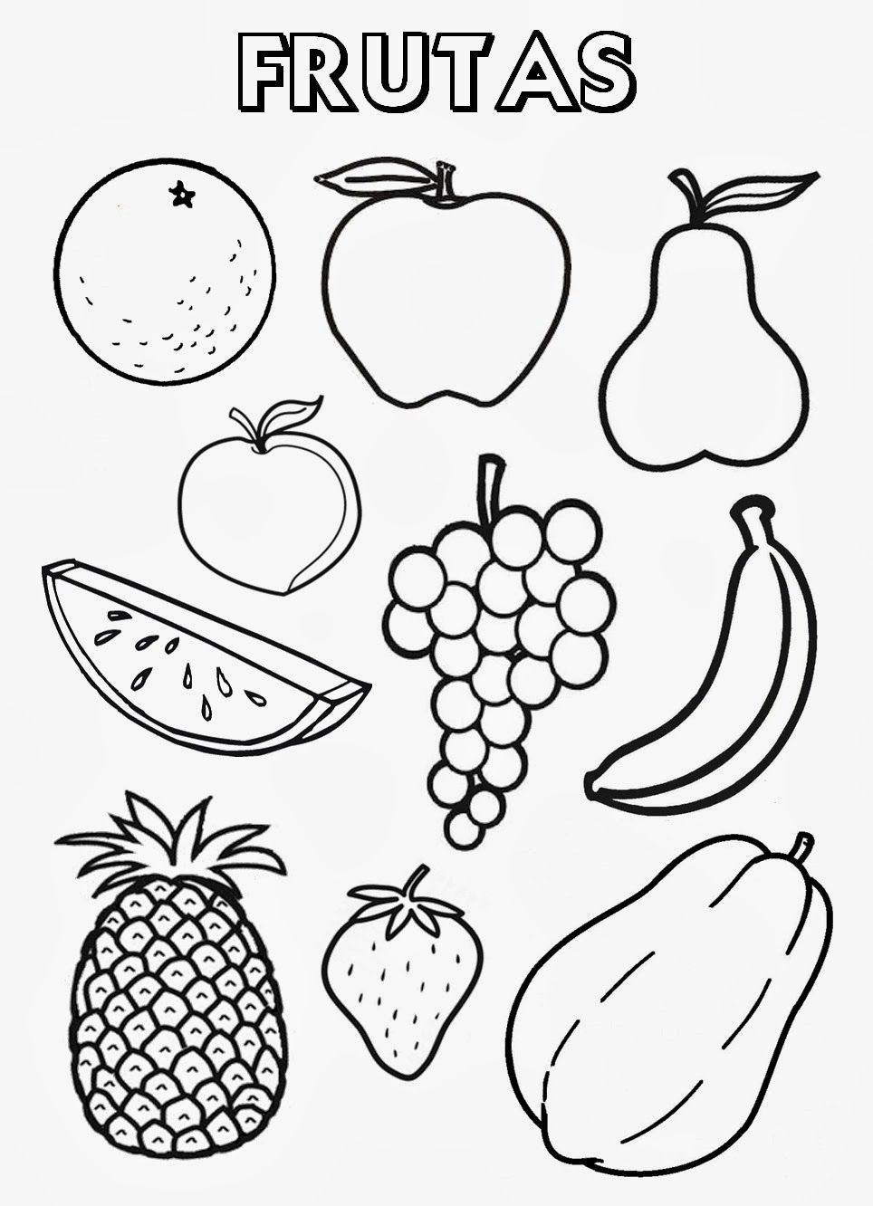 Fruits Spanish Coloring Page