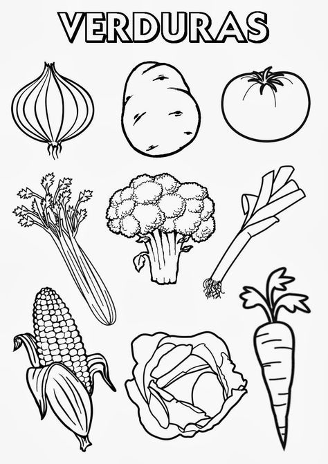 Vegetables Spanish Coloring Page
